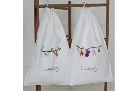 hand embroidered laundry bag baby nursery newborn gift free delivery