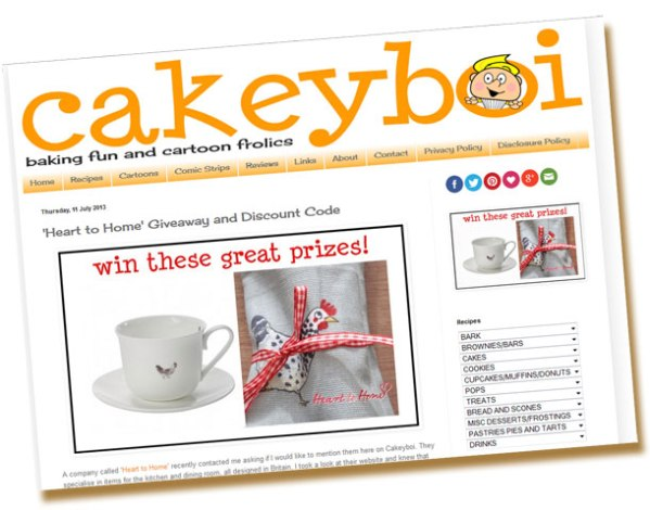 Heart to Home prize giveaway in association with Cakeyboi