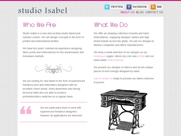 studioisabel.co.uk - 50 British Textiles Designers' websites for Inspiration