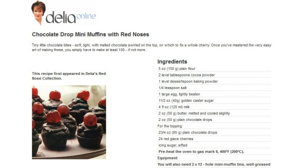 Delia Smith's Chocolate Drop Mini Muffins with Red Noses
