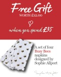 Free Sophie Allport Busy Bees napkins