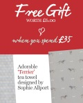 Free Sophie Allport Terrier tea towel